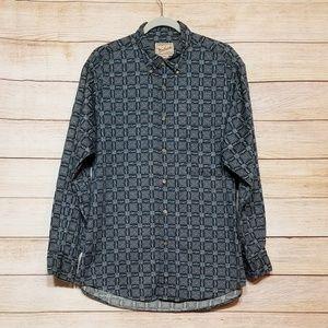 Woolrich fish print button up shirt